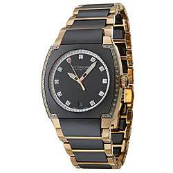 Wittnauer Mens Black Ceramic and Rose Gold Diamond accent Watch