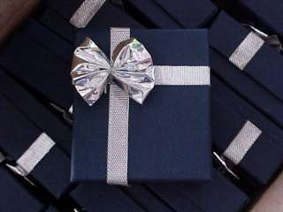 qty 12) Blue Linen & Silver Metallic Bow Tie Earring GIFT BOXES