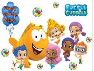 Bubble Guppies edible cake image  1/4 sheet