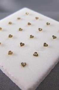 Lot of 2 24K Gold Heart Shape Nose Bone Stud Ring Gem