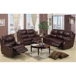 Hampton 3 piece Brown Leather Sofa, Loveseat and Chair Set