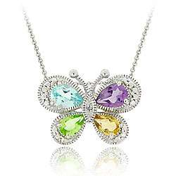 Silver Multi gemstone and Diamond Butterfly Necklace