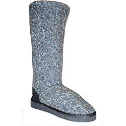 Muk Luks Womens Grey Cable Knit Boots