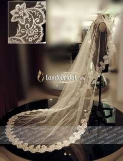1T WHITE/IVORY CATHEDRAL LACE MANTILLA WEDDING VEIL