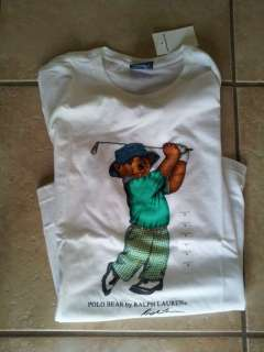 Polo Ralph Lauren Teddy Bear T Shirt Tee Top White Green Golf Golfing