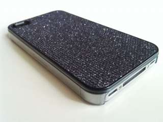 BLACK BLING GLITTER HARD CASE FOR APPLE IPHONE 4G 4S + SCREEN