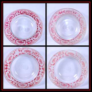 Bohemia ruby flash GLASS bowls LOT 4 Running STAG VTG