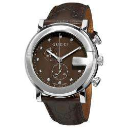 Gucci Mens G Chrono Leather Strap Chronograph Diamond Watch