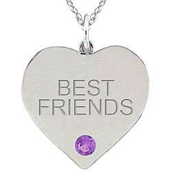 Birthstone Amethyst Engraved BEST FRIENDS Necklace