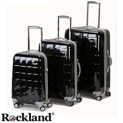 Rockland Elite Designer Black 3 piece Hardside Spinner Luggage Set