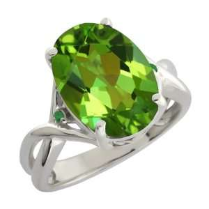 01 Ct Envy Green Oval Mystic Quartz and Diamond Argentium Silver
