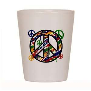 Shot Glass White of Peace Symbol Sign Dripping Paint