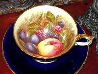 Aynsley ORCHARD FRUIT COBALT BLUE HAND PAINTED Tea Cup and Saucer 1930