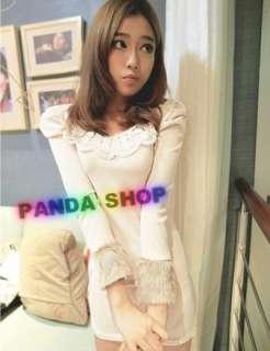 SC439 White Lace Sleeve Fur Ladies Girl T shirt Dress Elastic Crew
