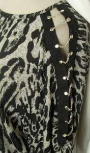 NEW Cheetah BLACK Blouson OPEN SLEEVE Retro TUNIC DRESS