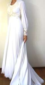 VINTAGE 70s 80s S White Wedding Dress Gown Long Sleeve beaded Lace