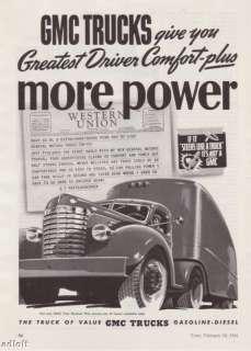 1941 GMC Trucks Semi & Trailer Art vintage print ad