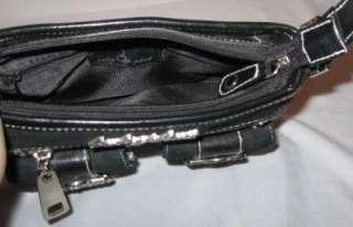 Baby Phat Small Handbag Hand Bag Purse Black Gray Leather Canvas