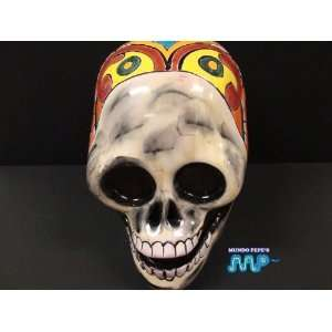 Ceramic Skull 8 [Dia de Los Muertos] [Day of The Dead] Hand Painted