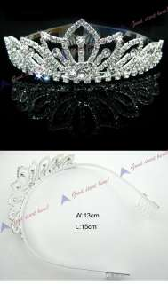 Pretty Silver Crystal Rhinestone Wedding Headband Tiara Comb LKT0031