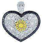 STERLING 925 14K GOLD DIAMOND HEART PENDANT NECKLACE
