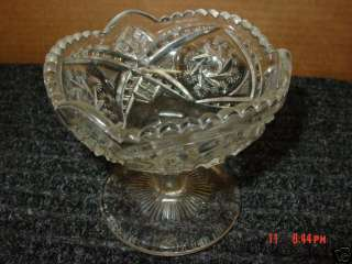Old,Pressed,Glass,Compote,Dish,Candy,Clear,Bowl,Pattern
