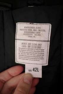 Military Issued Black WOOL Blend Lined WINDBREAKER Jacket 42 L