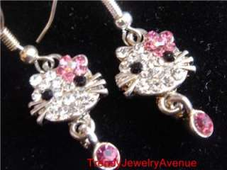 Austrian Crystal Cat hello Kitty Dangle Earrings Bridal