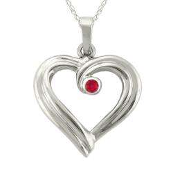 Gold Large Designer July Birthstone Created Ruby Ribbon Heart Necklace