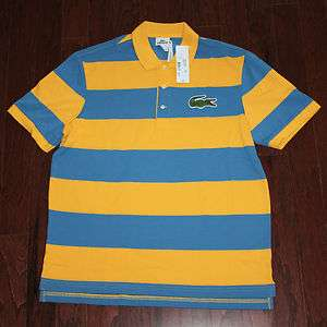 88 Lacoste Mens Yellow and Blue Modern Fit Polo Shirt L/2XL