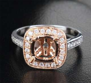 White/Rose Gold .42ct Diamond 7mm Cushion Halo Semi Mount Ring