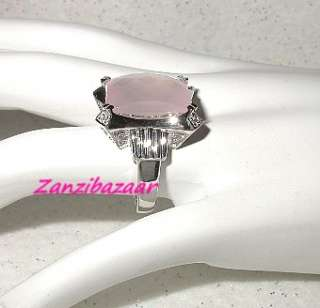 GORGEOUS 14K WHITE GOLD EMERALD CUT ROSE QUARTZ & DIAMOND RING