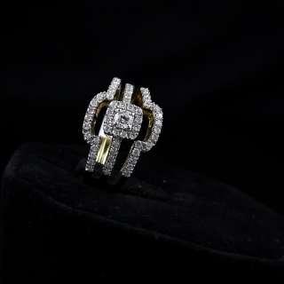 LADIES YELLOW GOLD 0.83CT PRINCESS DIAMOND BRIDAL ENGAGEMENT RING SET