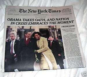 PRESIDENT BARACK OBAMA 2009 NY TIMES INAUGURATION NEWSPAPERS MINT