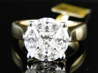 14K 2.00 CT YELLOW GOLD DIAMOND SOLITAIRE LOOK ENGAGEMENT WEDDING BAND