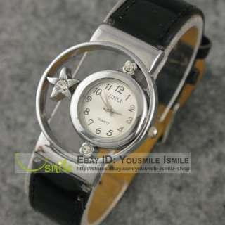 Elegant Vintage Women Ladys Diamond Leather Wrist Watch