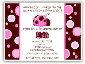 BABY SHOWER Invitations Pink Brown Ladybug lb p