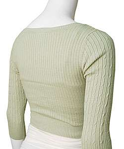 Its Our Time Womens Cable Knit Cropped Cardigan