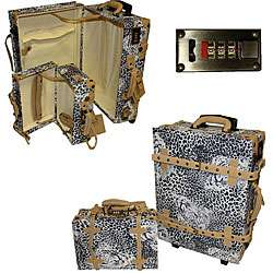 La Vida Vintage 2 piece Leopard Print Carry On Luggage Set