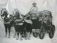 Western Stagecoach Metal Plasma Art Wall Hanging