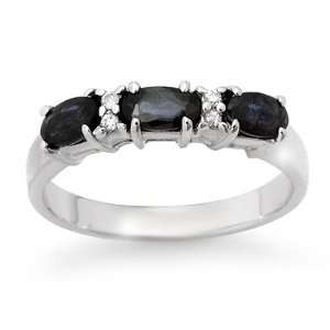 Genuine 1.09 ctw Sapphire & Diamond Ring 10K White Gold