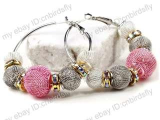 Basketball Wives Mesh Rhinestone Beads Spacer Hoops Earrings