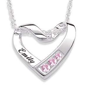 Sterling Silver Birthstone & Name Heart Necklace   October Jewelry