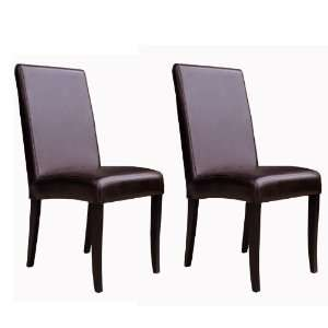 Wholesale Interiors Set of Two Full Leather Dining Chairs