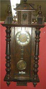 Antique German Hamburg American Clock Co wall clock 8 day time strike