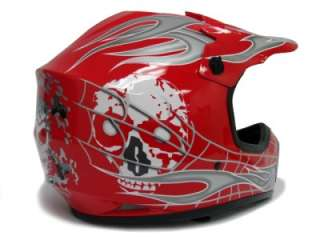 YOUTH RED/SILVER SKULL DIRT BIKE MOTOCROSS HELMET MX ~S