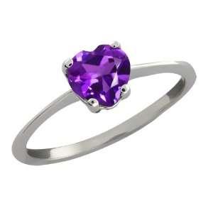 0.74 Ct Heart Shape Purple Amethyst Sterling Silver Ring