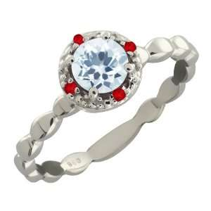 0.63 Ct Round Sky Blue Topaz and Red Garnet Argentium