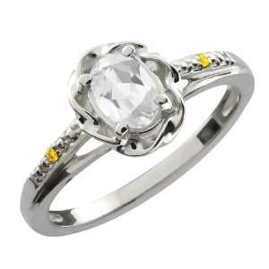 0.56 Ct Oval White Topaz Canary Diamond 10K White Gold