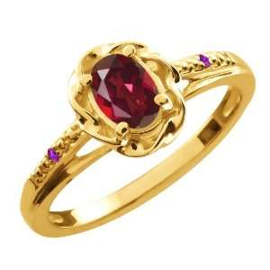0.51 Ct Oval Ruby Red Mystic Topaz Purple Amethyst 18K